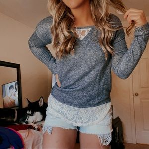 Blue Sweater with White Lace Trim